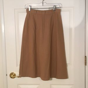 Vintage a line camel tan wool blend skirt